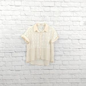 Forever 21   Sheer & Lace Cream Collared Blouse